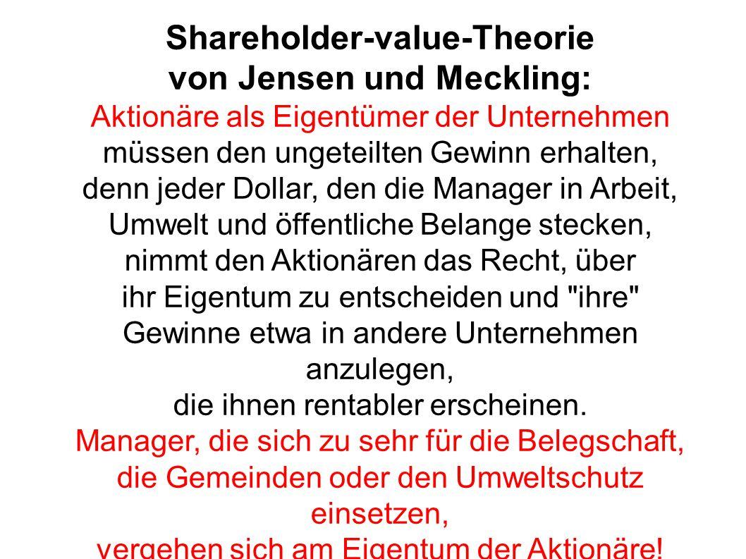 Shareholder-value-Theorie von Jensen und Meckling: