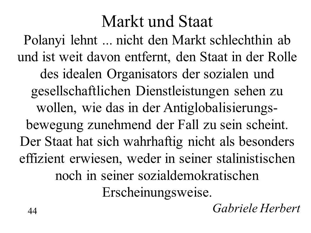 Markt und Staat Polanyi lehnt ... nicht den Markt schlechthin ab