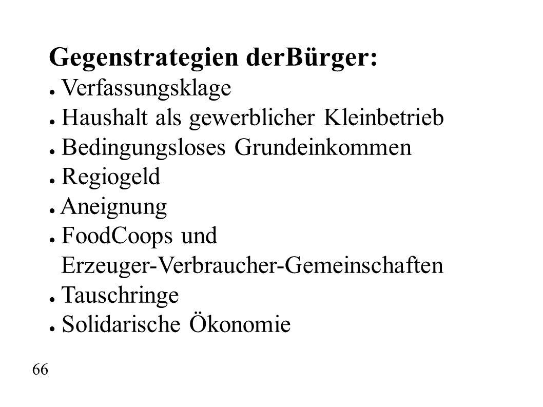 Gegenstrategien derBürger: