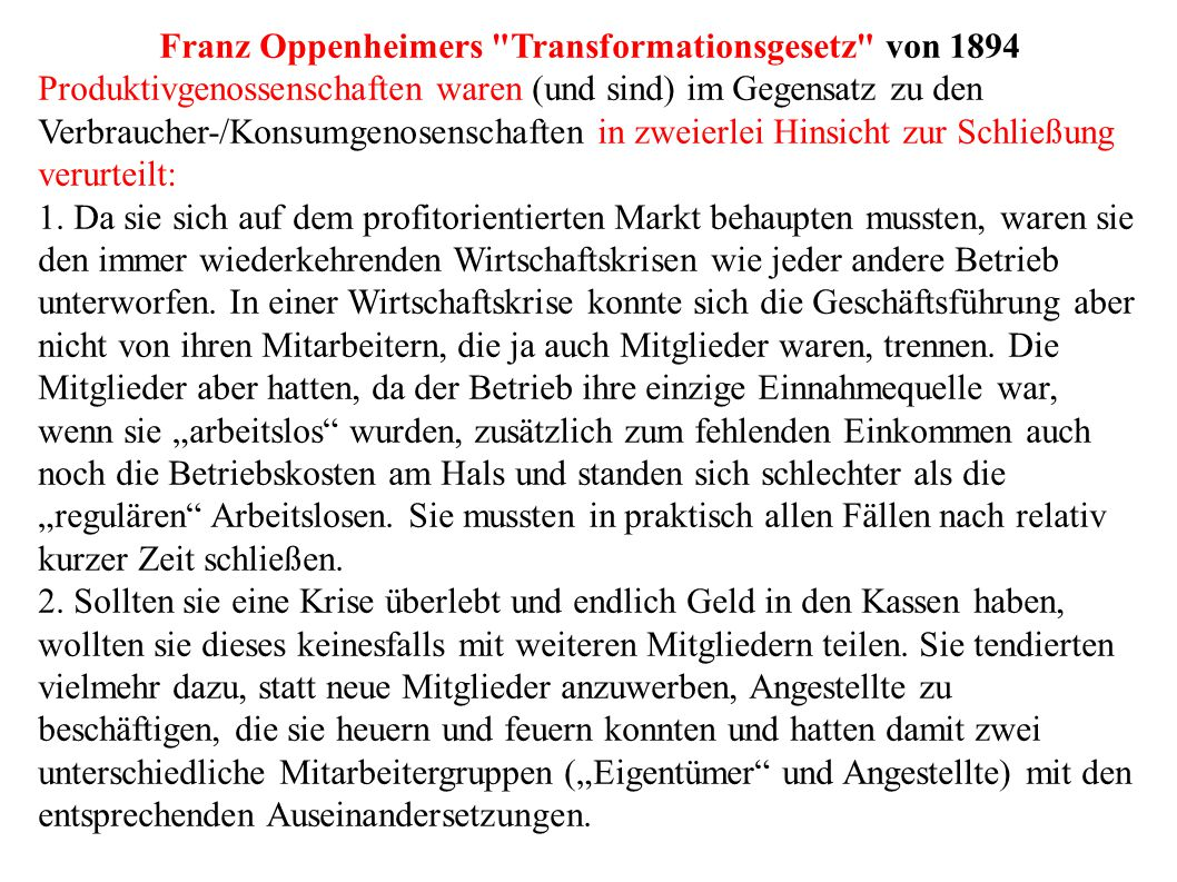 Franz Oppenheimers Transformationsgesetz von 1894