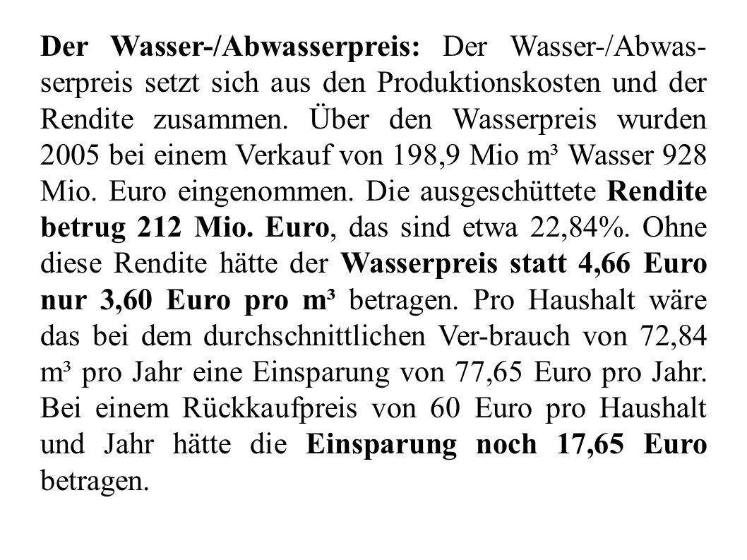 Der Wasser-/Abwasserpreis: Der Wasser-/Abwas-serpreis setzt sich aus den Produktionskosten und der Rendite zusammen.