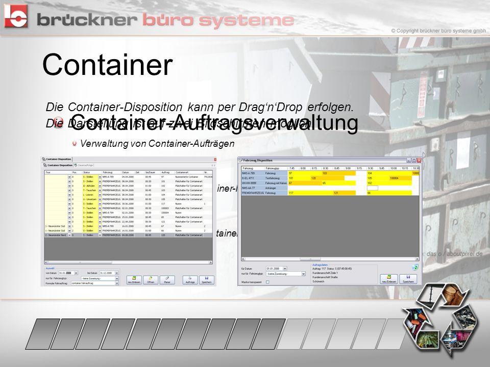 Container Container-Auftragsverwaltung Mieten Tagebuch Disposition