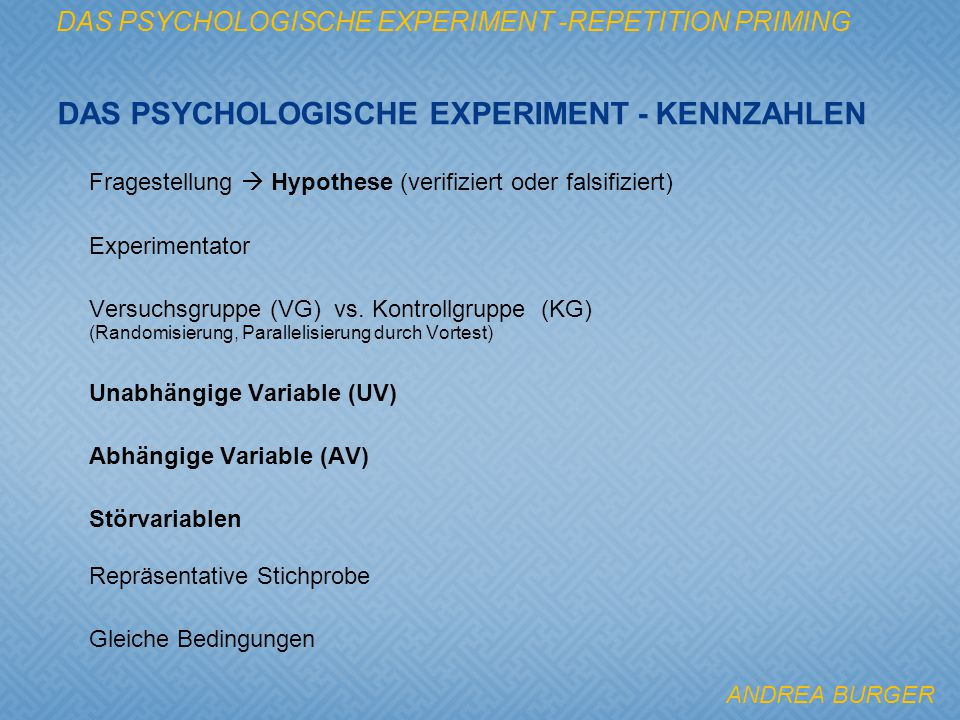 Das psychologische Experiment - Kennzahlen