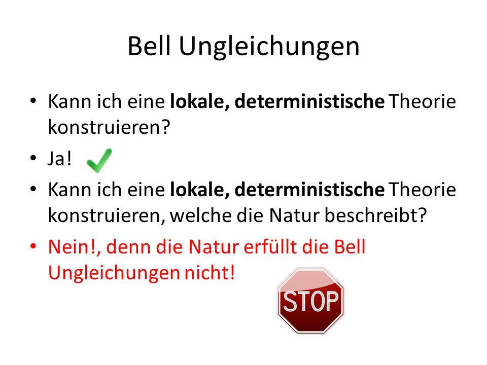 Bell Ungleichungen Kann ich eine lokale, deterministische Theorie konstruieren Ja!