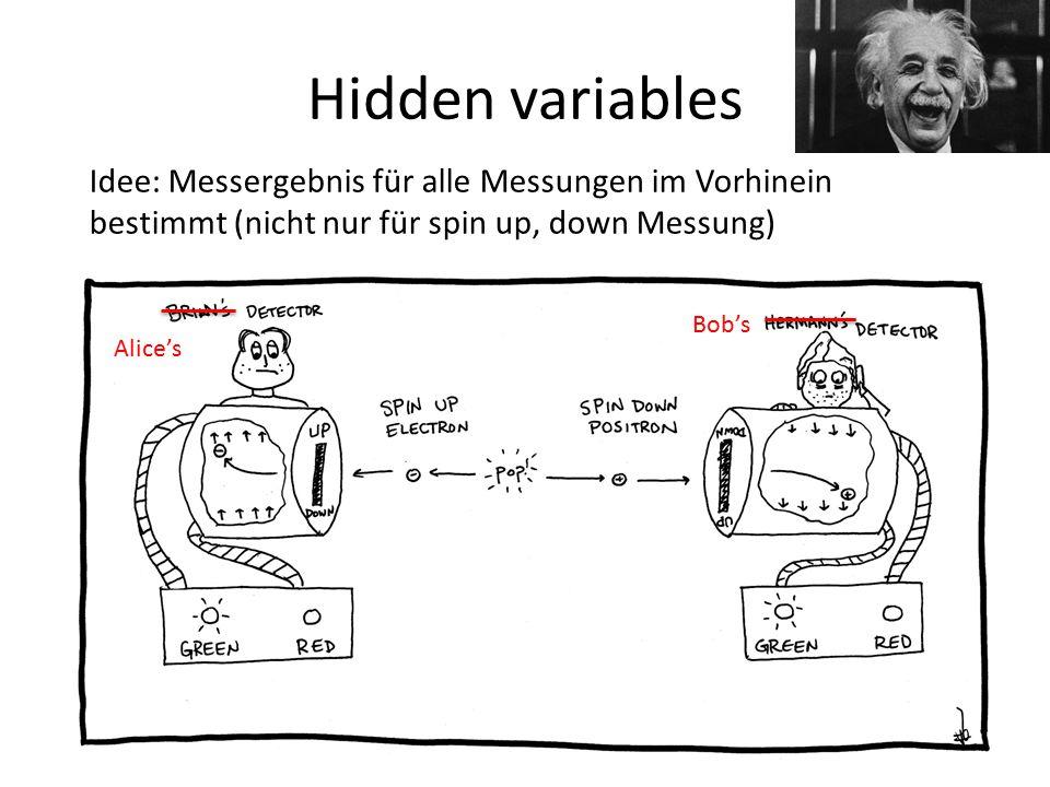 Hidden variables Idee: Messergebnis für alle Messungen im Vorhinein bestimmt (nicht nur für spin up, down Messung)