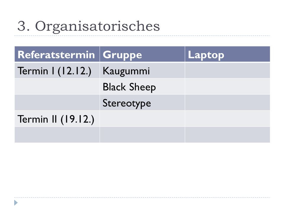 3. Organisatorisches Referatstermin Gruppe Laptop Termin I (12.12.)