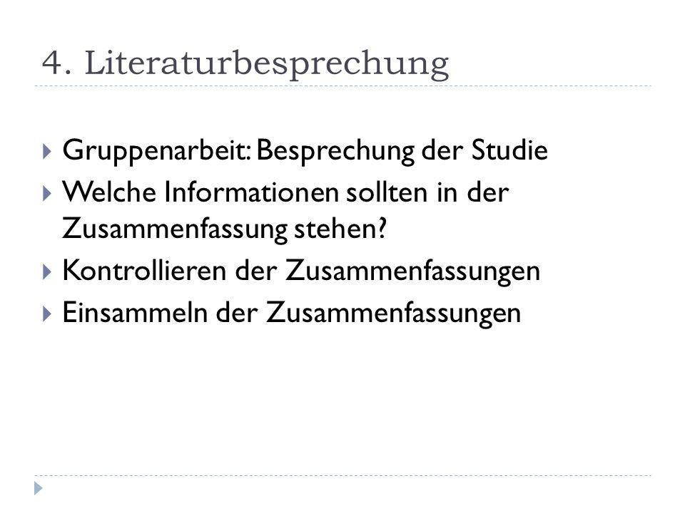 4. Literaturbesprechung