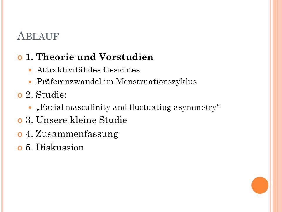 Ablauf 1. Theorie und Vorstudien 2. Studie: 3. Unsere kleine Studie