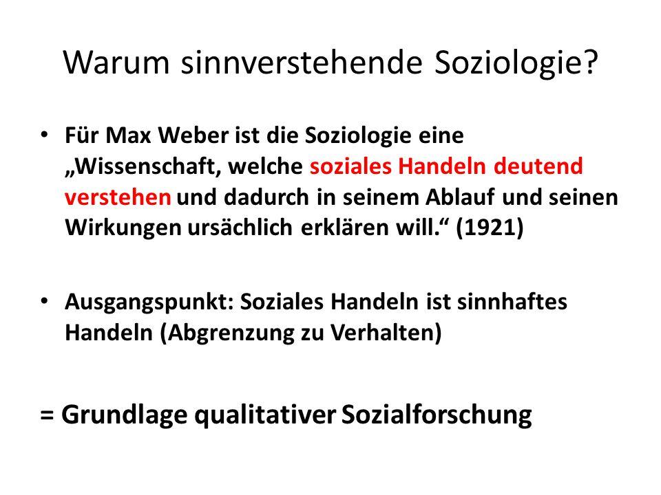 Warum sinnverstehende Soziologie