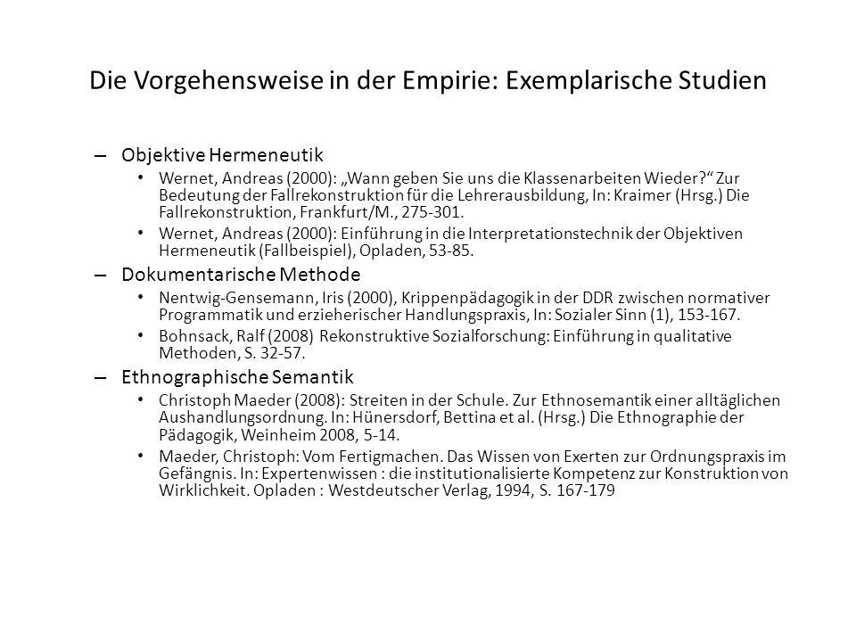 Die Vorgehensweise in der Empirie: Exemplarische Studien
