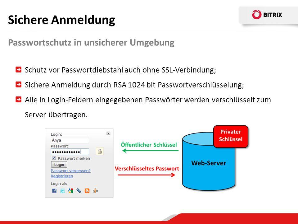 Sichere Anmeldung Passwortschutz in unsicherer Umgebung