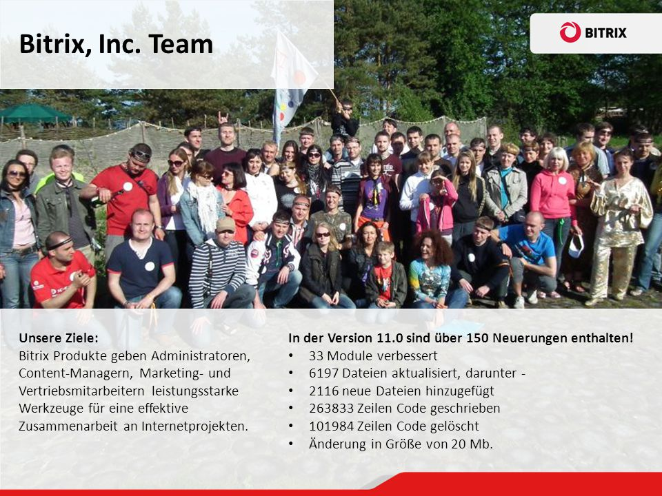 Bitrix, Inc. Team Unsere Ziele: