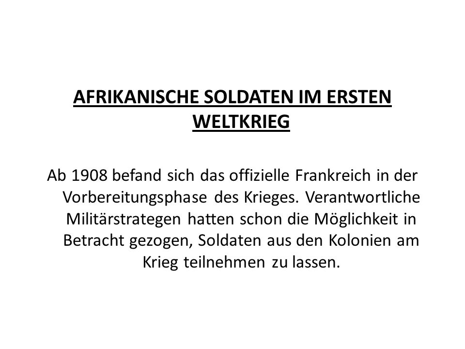 AFRIKANISCHE SOLDATEN IM ERSTEN WELTKRIEG