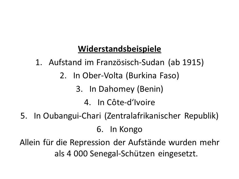 Widerstandsbeispiele Aufstand im Französisch-Sudan (ab 1915)