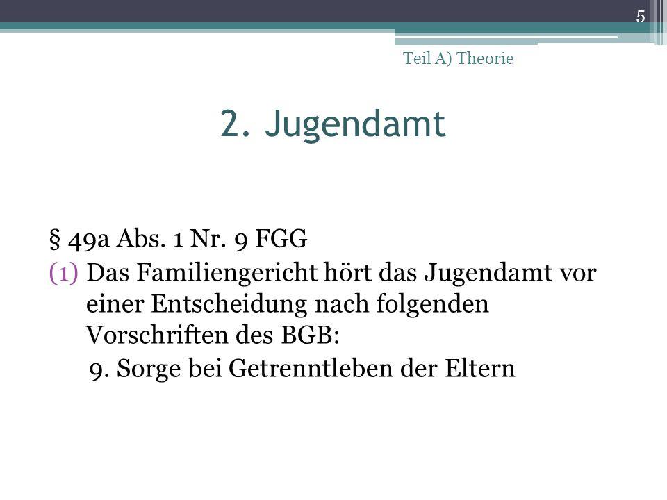 Teil A) Theorie 2. Jugendamt. § 49a Abs. 1 Nr. 9 FGG.