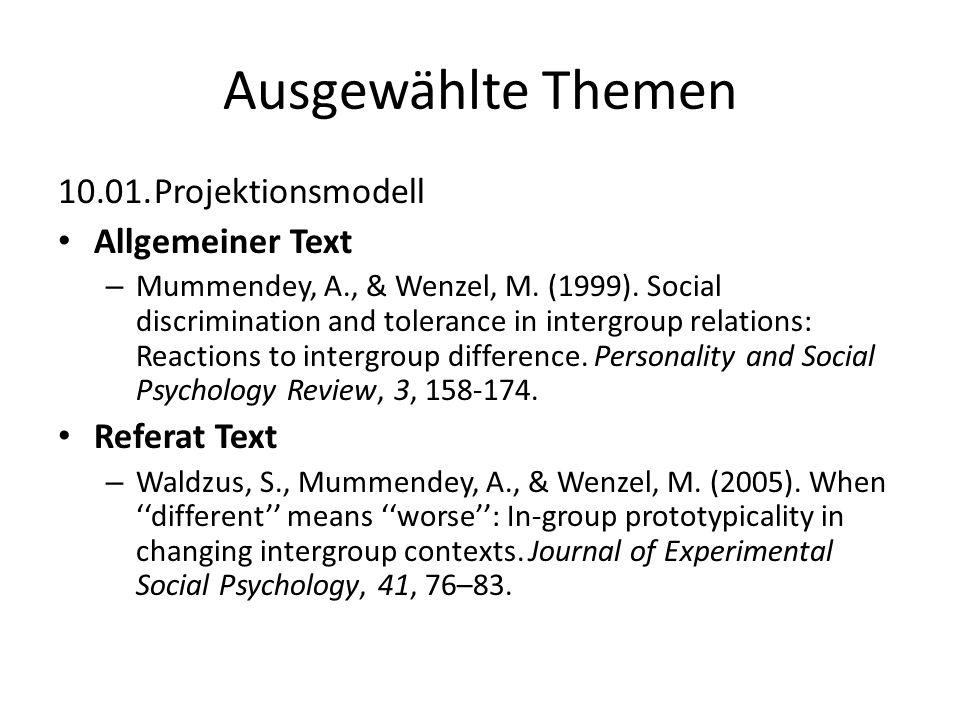 Ausgewählte Themen 10.01. Projektionsmodell Allgemeiner Text