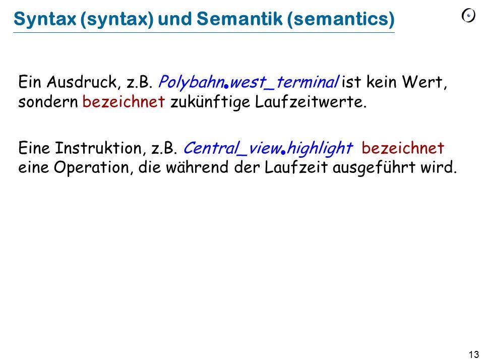 Syntax (syntax) und Semantik (semantics)