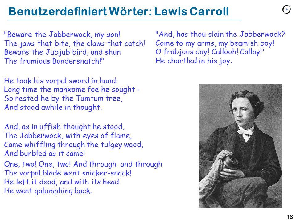 Benutzerdefiniert Wörter: Lewis Carroll