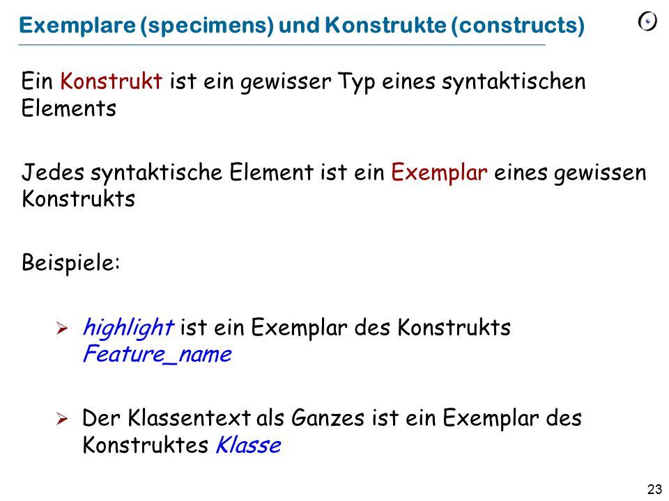 Exemplare (specimens) und Konstrukte (constructs)