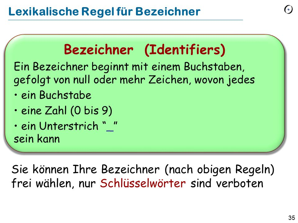 Lexikalische Regel für Bezeichner