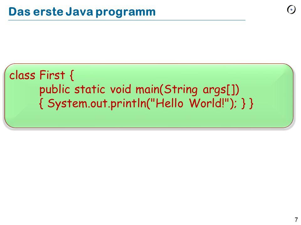 Das erste Java programm