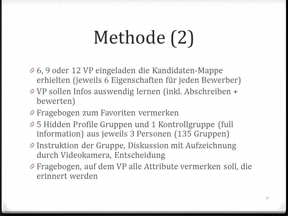 Methode (2) 6, 9 oder 12 VP eingeladen die Kandidaten-Mappe erhielten (jeweils 6 Eigenschaften für jeden Bewerber)