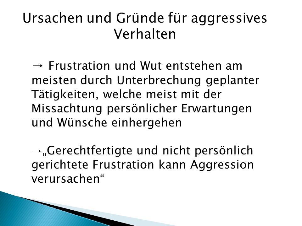 Ursachen und Gründe für aggressives Verhalten