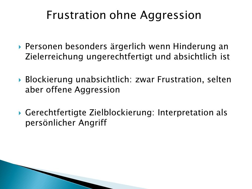 Frustration ohne Aggression