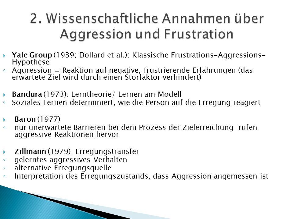 2. Wissenschaftliche Annahmen über Aggression und Frustration
