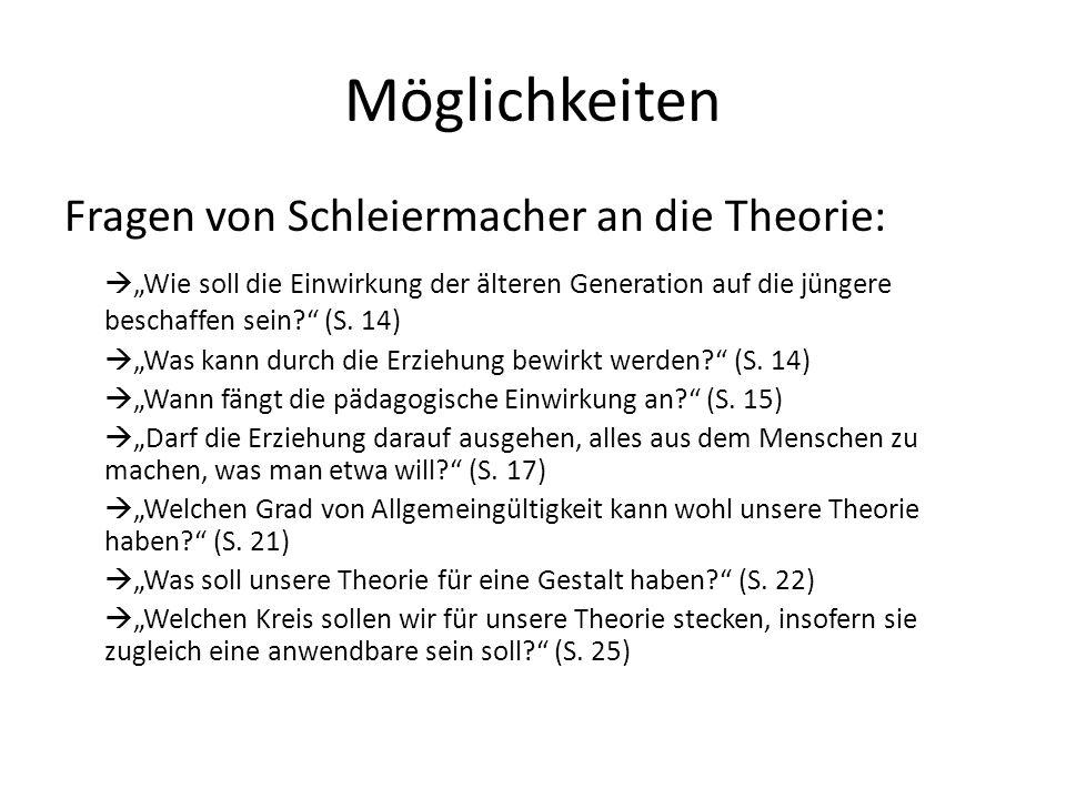 Möglichkeiten Fragen von Schleiermacher an die Theorie: