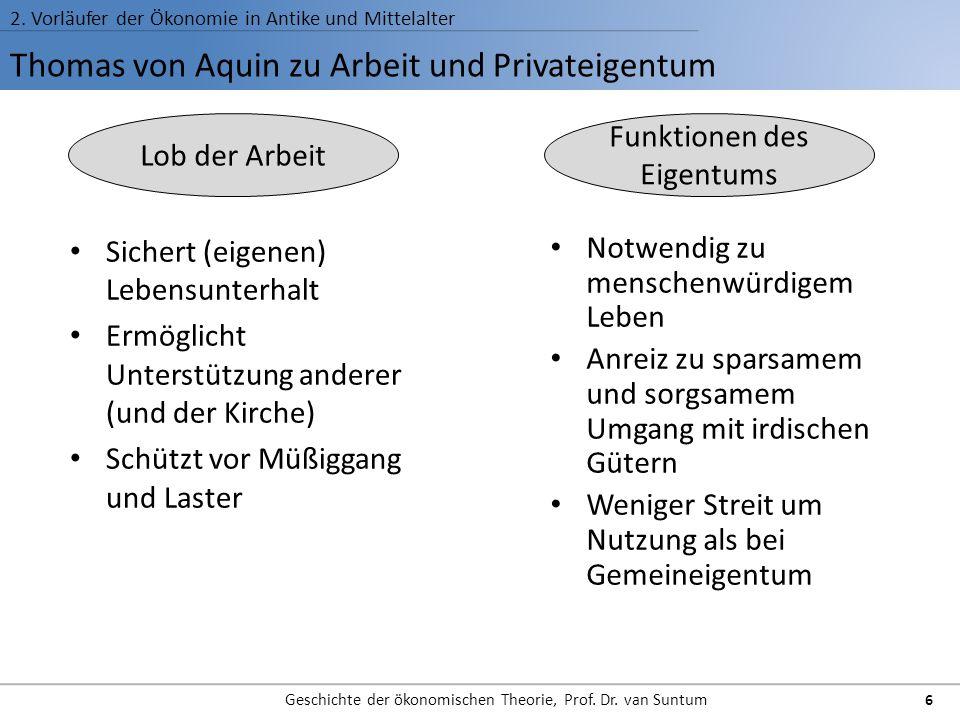 Thomas von Aquin zu Arbeit und Privateigentum