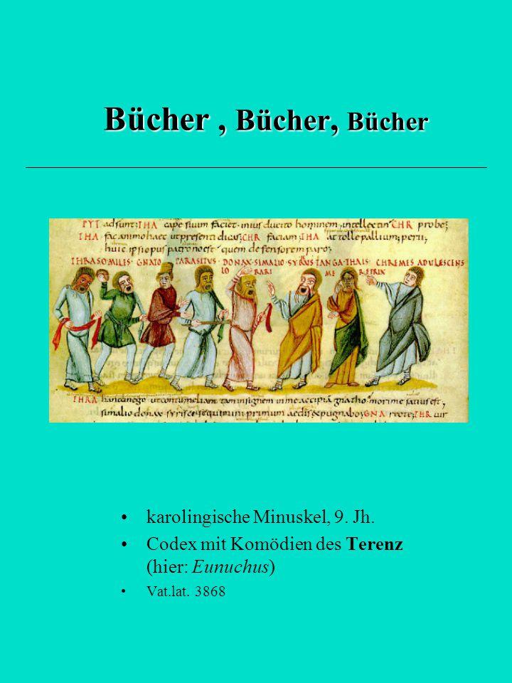 Bücher , Bücher, Bücher karolingische Minuskel, 9. Jh.