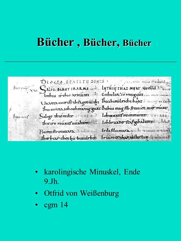 Bücher , Bücher, Bücher karolingische Minuskel, Ende 9.Jh.