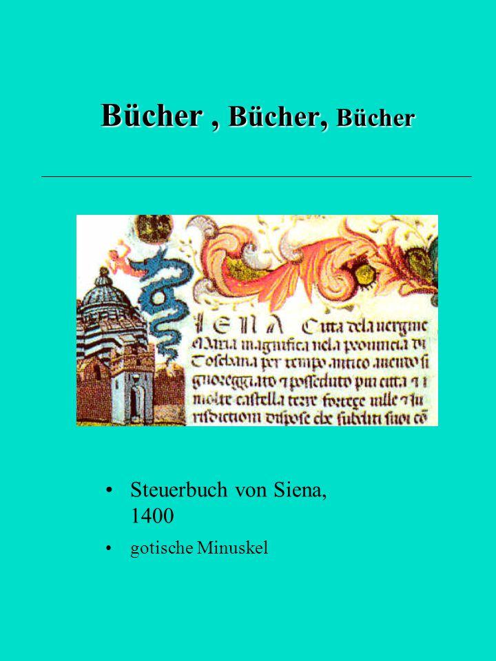 Bücher , Bücher, Bücher Steuerbuch von Siena, 1400 gotische Minuskel