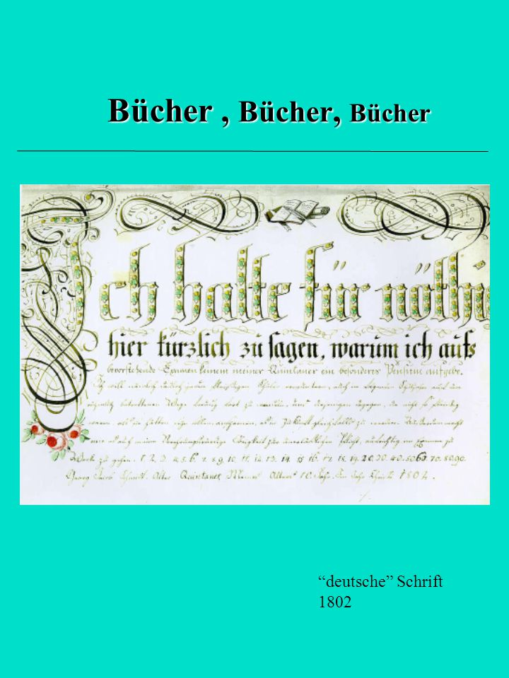 Bücher , Bücher, Bücher deutsche Schrift 1802