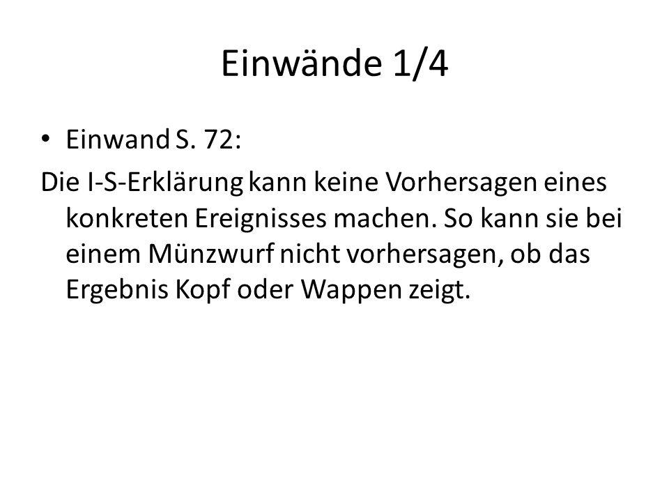 Einwände 1/4 Einwand S. 72: