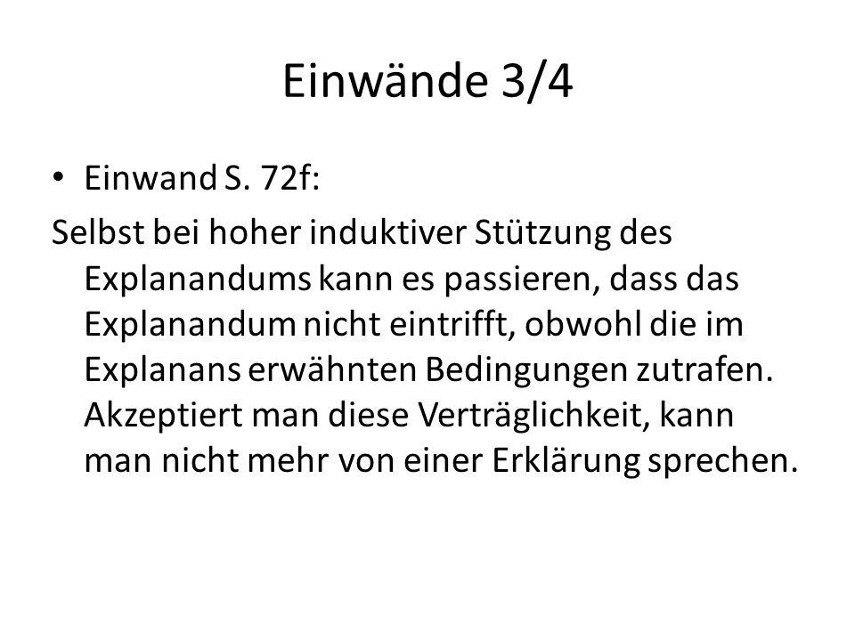 Einwände 3/4 Einwand S. 72f: