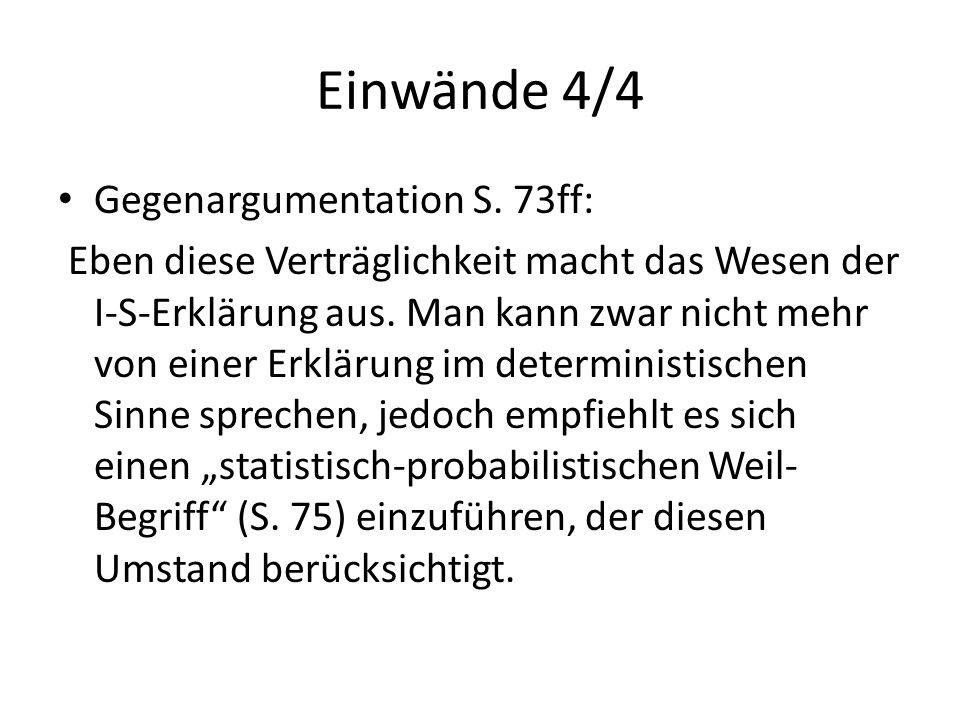 Einwände 4/4 Gegenargumentation S. 73ff: