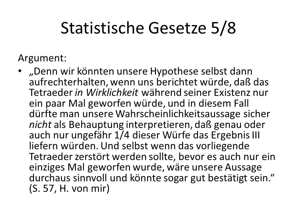Statistische Gesetze 5/8
