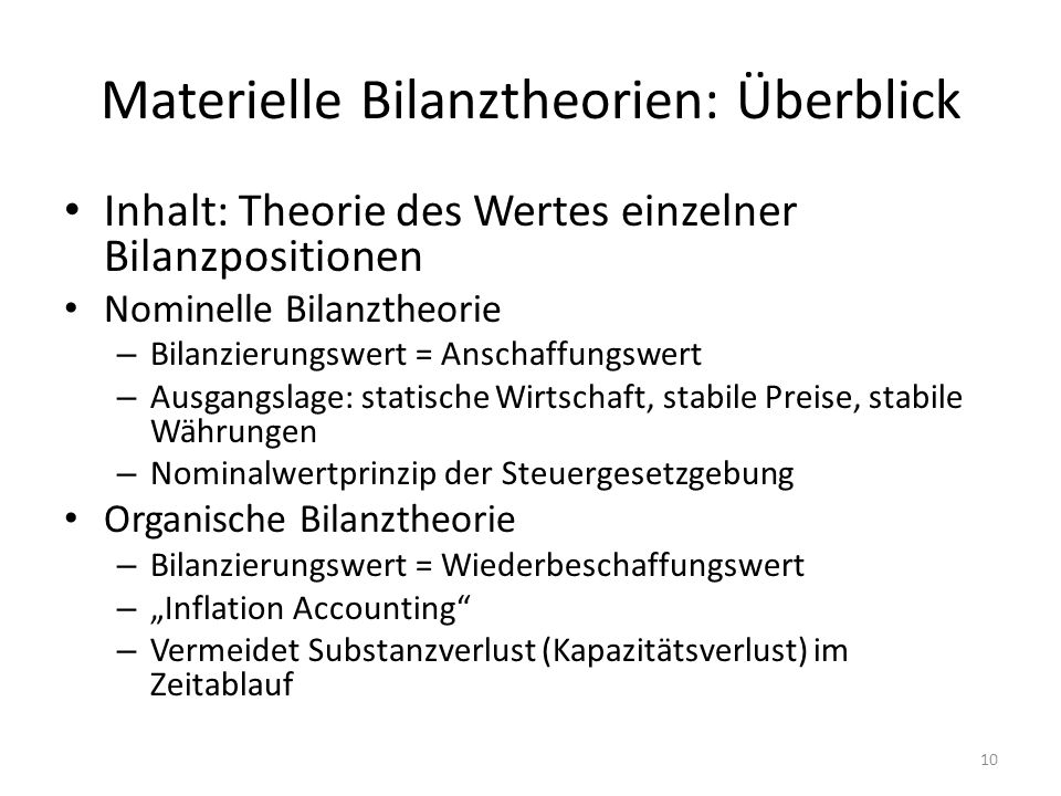 Materielle Bilanztheorien: Überblick