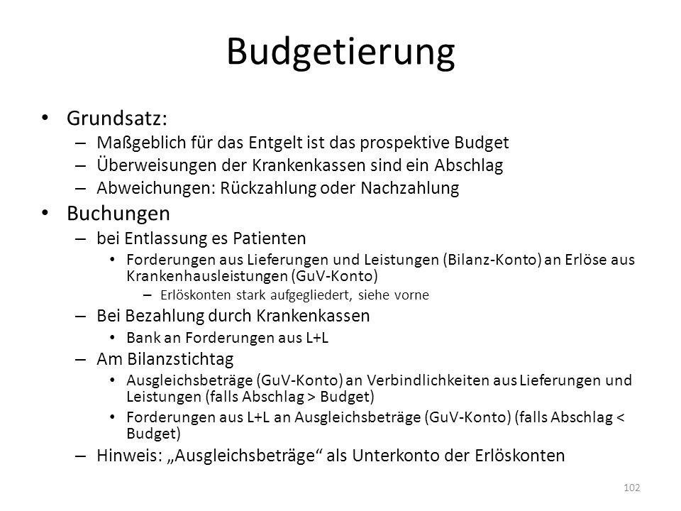 Budgetierung Grundsatz: Buchungen