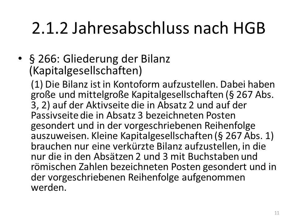2.1.2 Jahresabschluss nach HGB