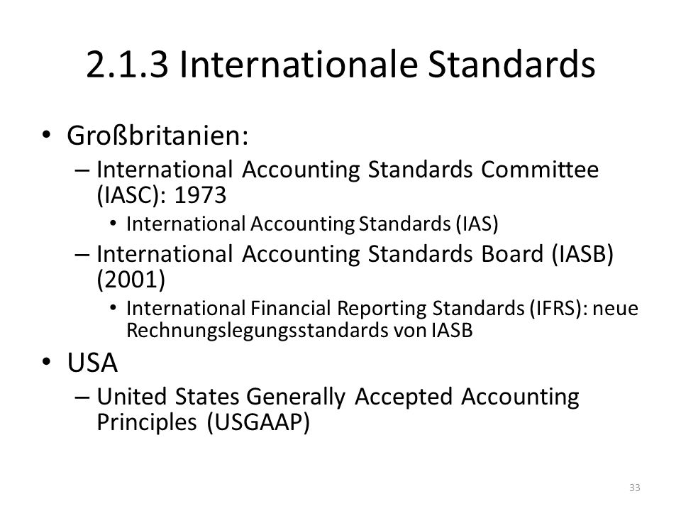 2.1.3 Internationale Standards
