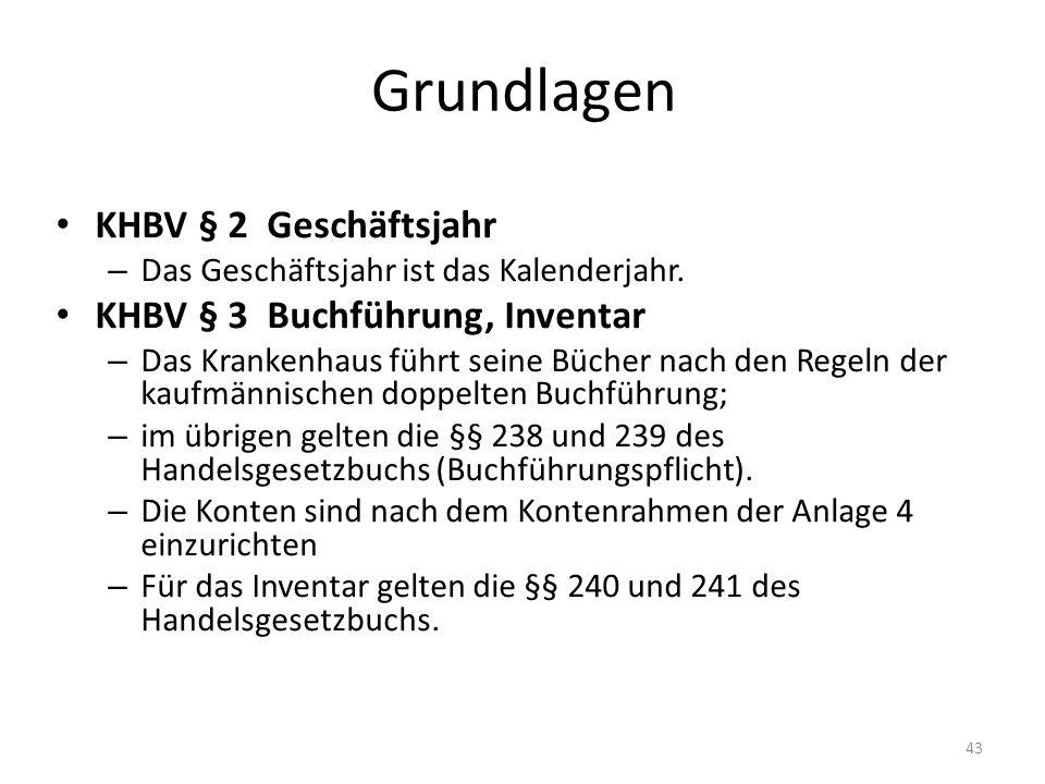 Grundlagen KHBV § 2 Geschäftsjahr KHBV § 3 Buchführung, Inventar