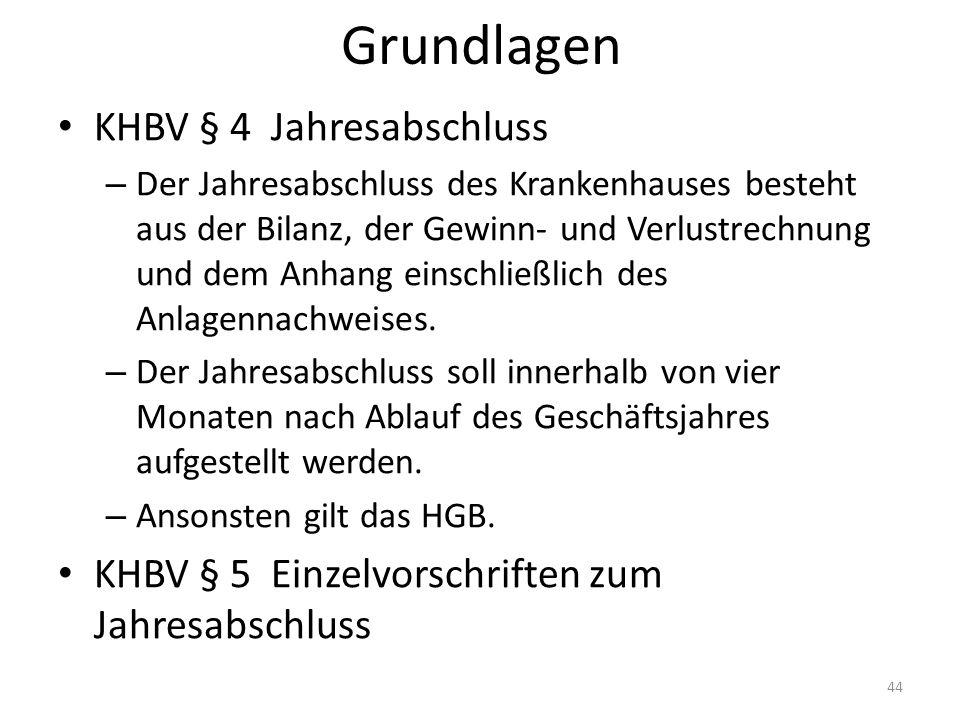 Grundlagen KHBV § 4 Jahresabschluss