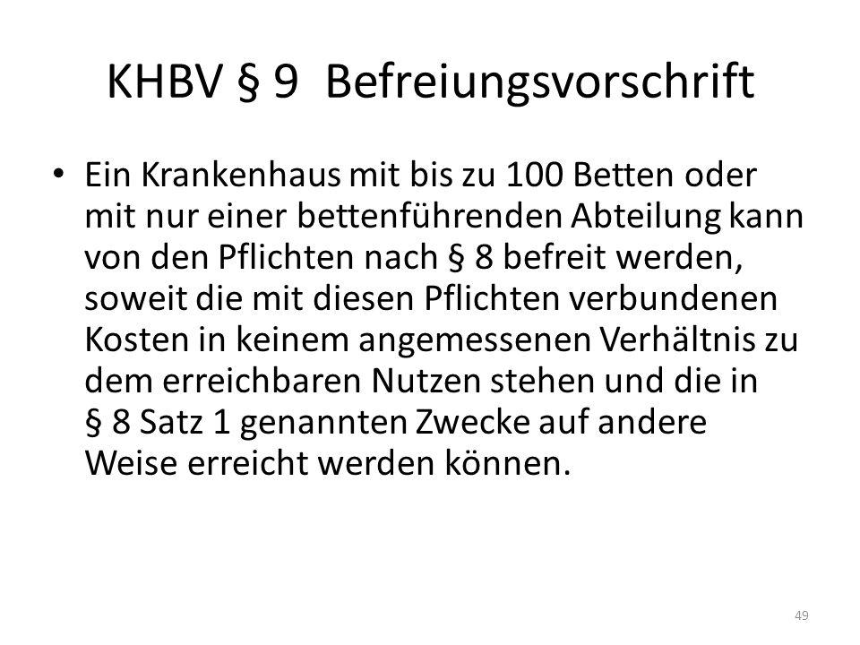 KHBV § 9 Befreiungsvorschrift