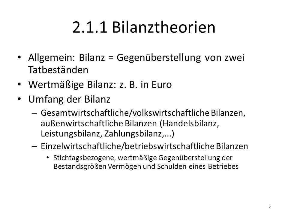 2.1.1 Bilanztheorien Allgemein: Bilanz = Gegenüberstellung von zwei Tatbeständen. Wertmäßige Bilanz: z. B. in Euro.