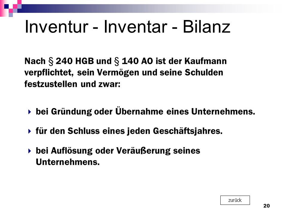 Inventur - Inventar - Bilanz