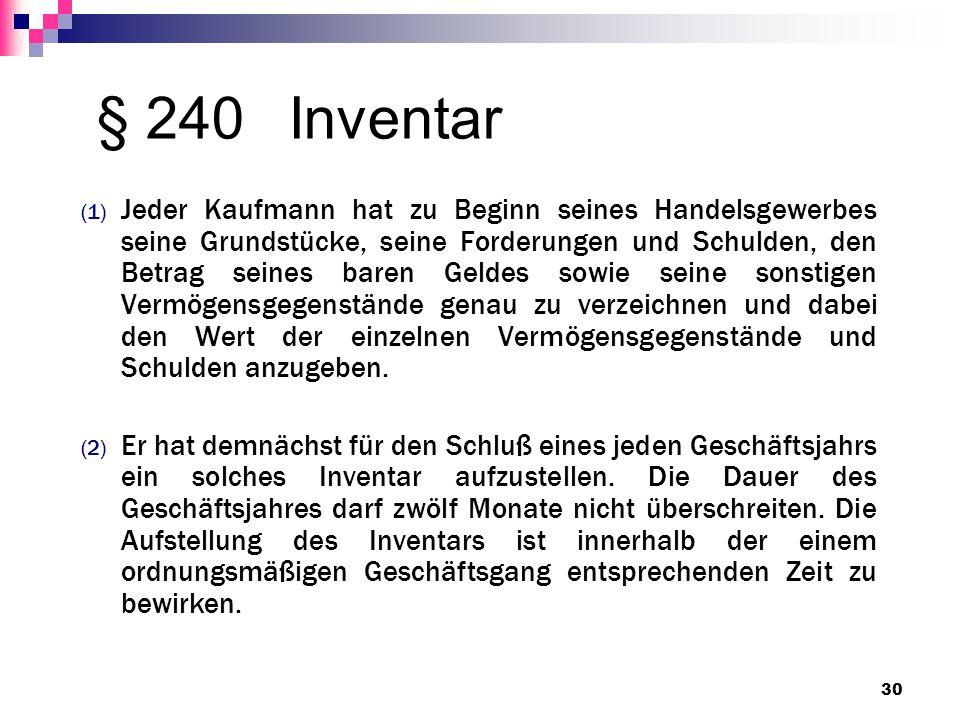 § 240 Inventar