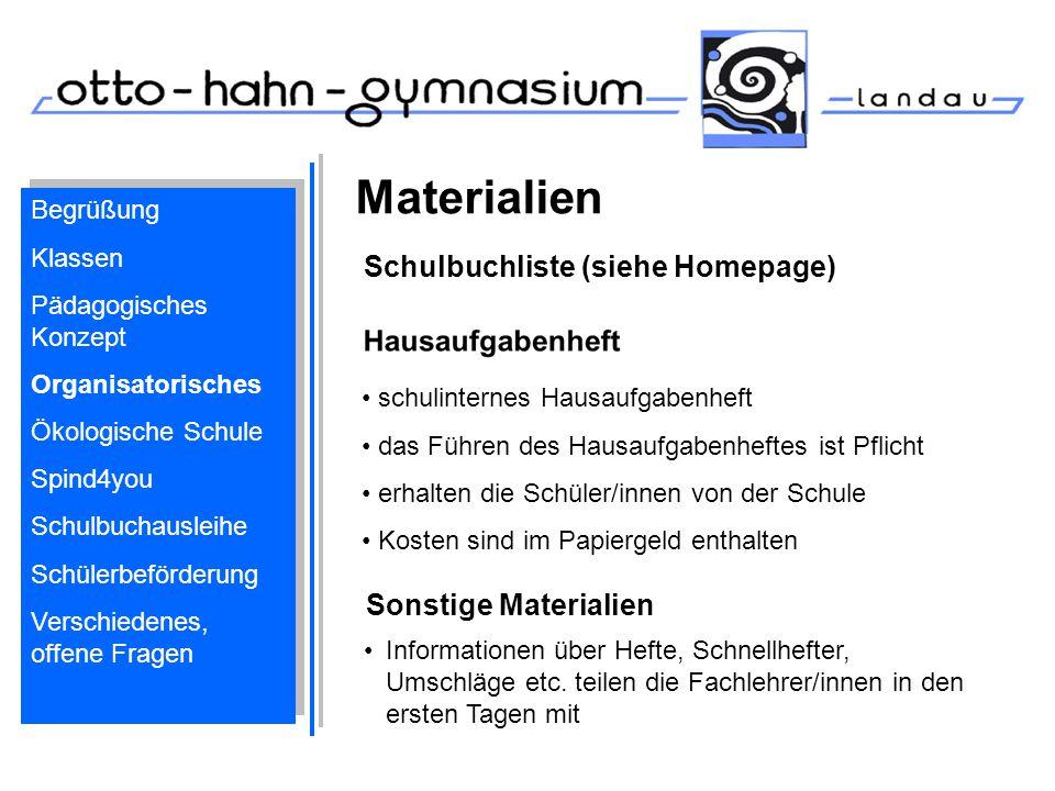 Materialien Schulbuchliste (siehe Homepage) Sonstige Materialien